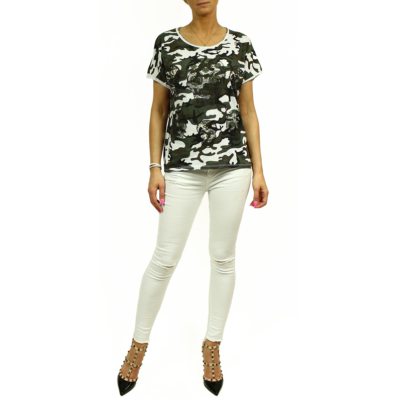 damen top bluse t shirt camouflage armee milit r stil thema sch del. Black Bedroom Furniture Sets. Home Design Ideas