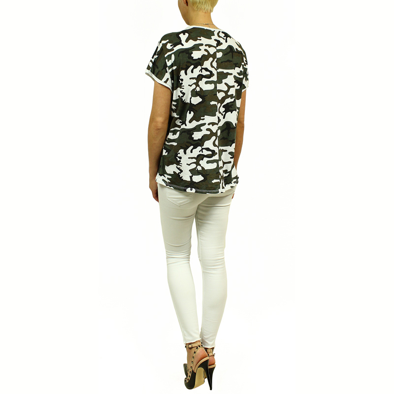 damen top bluse t shirt camouflage armee milit r stil. Black Bedroom Furniture Sets. Home Design Ideas