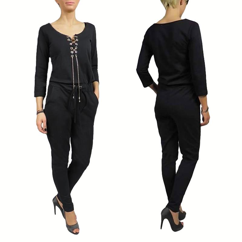 damen overall jumpsuit elegant lange overall hose ebay. Black Bedroom Furniture Sets. Home Design Ideas